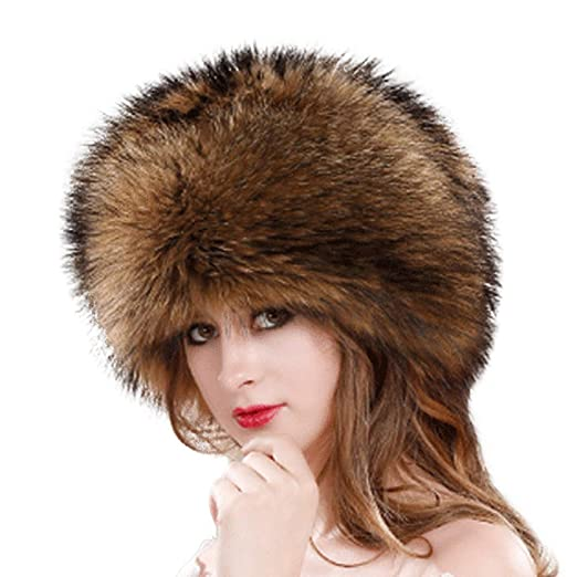 607af2af3a17a Women Faux Fur Hat Vertily Teen Girls Thick Winter Copy Animal Fur Warm  Dome Hat (