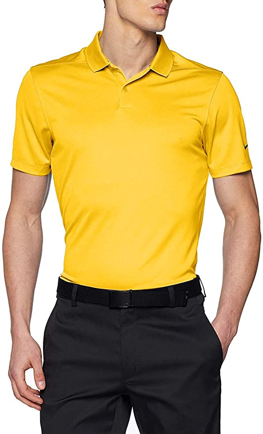 Nike Dri Fit Victory Solid Golf Polo 2018 Amarillo/White Medium ...