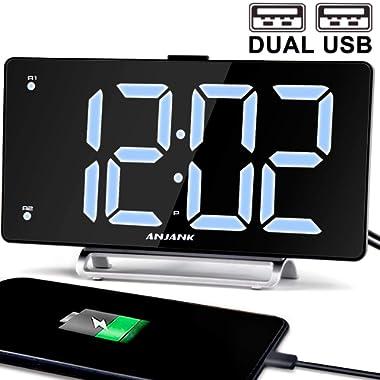 9  Digital Alarm Clock Large LED Display Dual Alarm with USB Charger Port for Bedrooms Bedside Desk Clocks Big Number Simple Seniors Clock