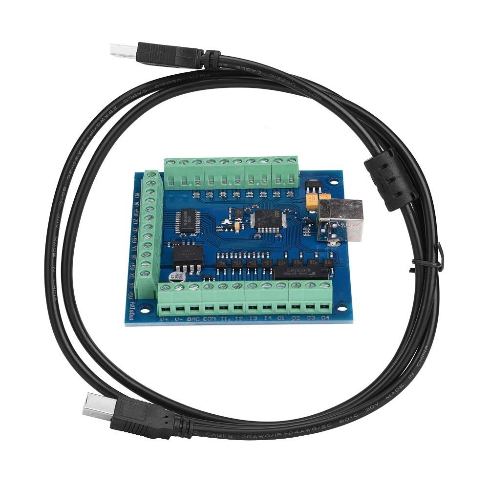Akozon CNC USB Card Motion Controller Board, MACH3 USB 4 Axis 100KHz USB CNC Motion Controller Card Breakout Board for Engraving