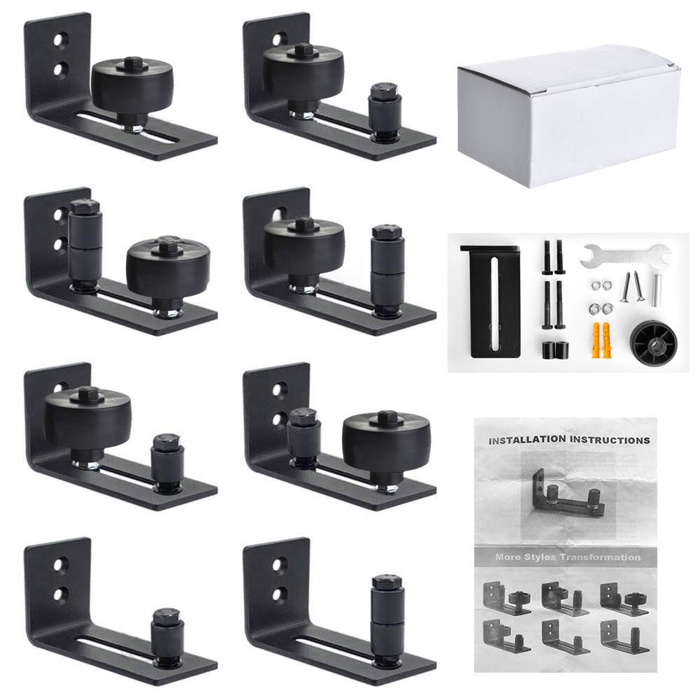 Barn Door Floor Guide Stay Roller, 8 Possible Variations to Fit All Barn Doors, Adjustable Wall Mount Guide Bottom Bracket Hardware