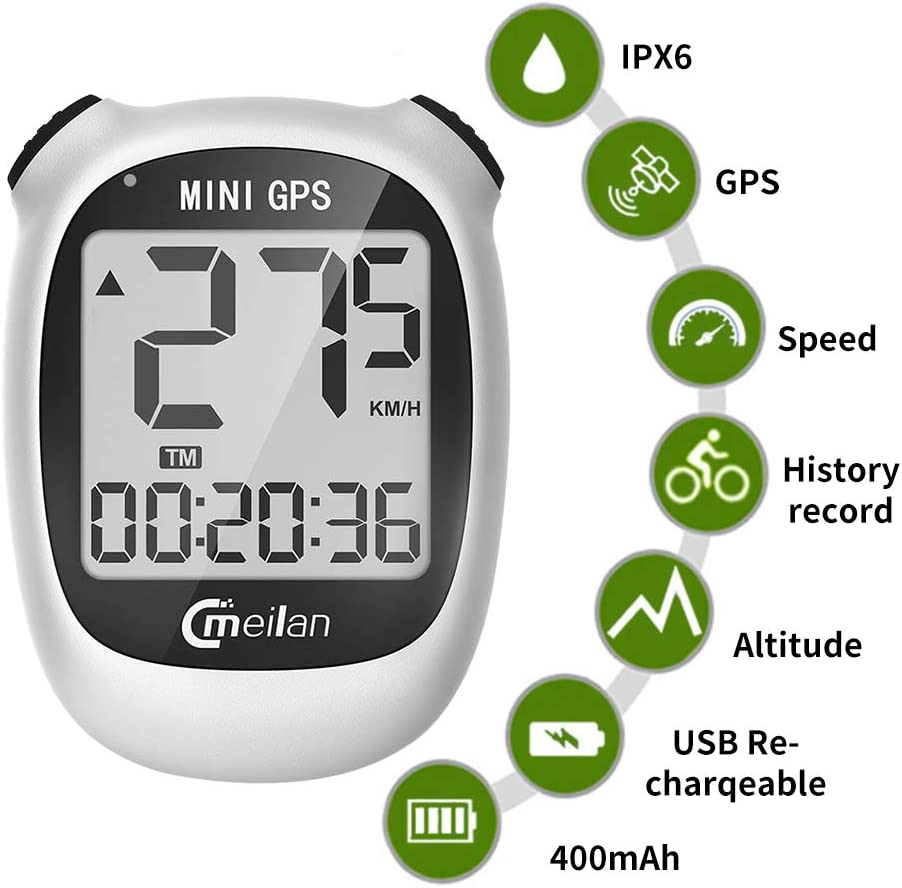 GPS Bicycle Computer, Mini M3 Bike Speedometer and Odometer Wireless Waterproof with LCD Display, IPX5 Waterproof USB Rechargeable for Bike,White