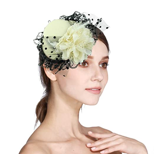 98038a9e3d2b8 Sinamay Fascinator Flower Feather Fascinators for Women Pillbox Hat for  Royal Wedding Deryby Party
