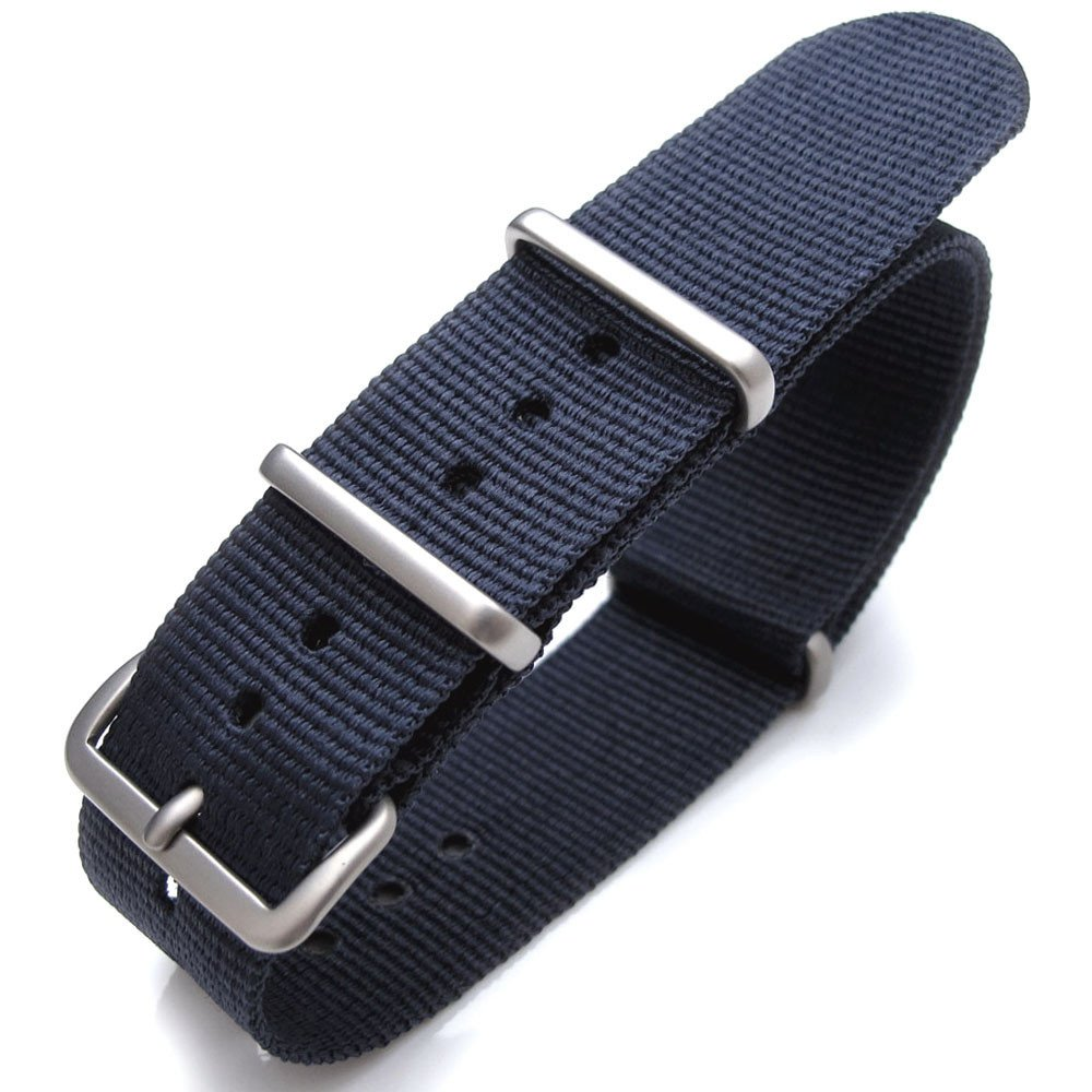 Nato 20mm Heat Sealed Heavy Nylon Brushed Buckle - Navy