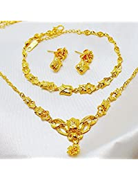 CS-DB 24K Gold Real 24K Yellow Gold Filled Necklace Bracelet Earrings Flower Set Women's Elegant Jewelry