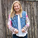 Fun Pink N Brown Abstract Floral Bell Sleeved Mixed Media Denim Bolero Jacket