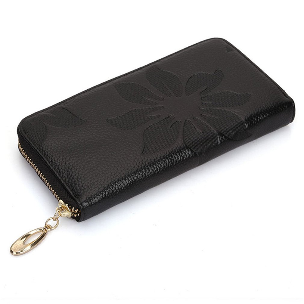 Fashion First Layer Cowhide Wallets Flower Soft Leather Purse Women Wallet