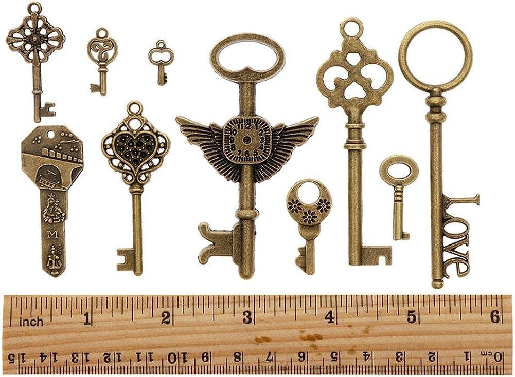 Free Ship 120 pcs bronze plated key charms 28x8mm #882