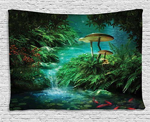 Ambesonne Fantasy House Decor, View Of Fantasy River with A Pond, Fish And Mushroom in Jungle Trees moss eden, Bedroom Living Room Dorm Wall Hanging Tapestry, 80W X 60L Inch, Green Orange Red ()