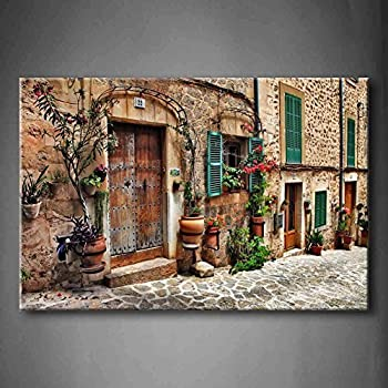 Streets Of Old Mediterranean Towns Flower Door Windows Wall Art Painting  The Picture Print On Canvas