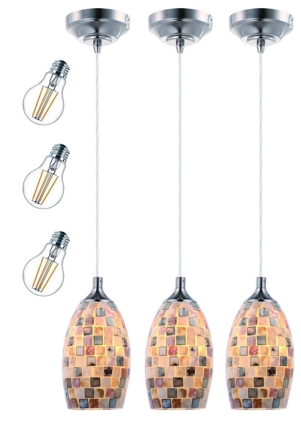 Cloudy Bay Mini Pendant Light,Mosaic Glass Ceiling Hanging Lighting Fixture for Kitchen Island,Includes 3 A19 LED Filament Bulbs - 3 Pack