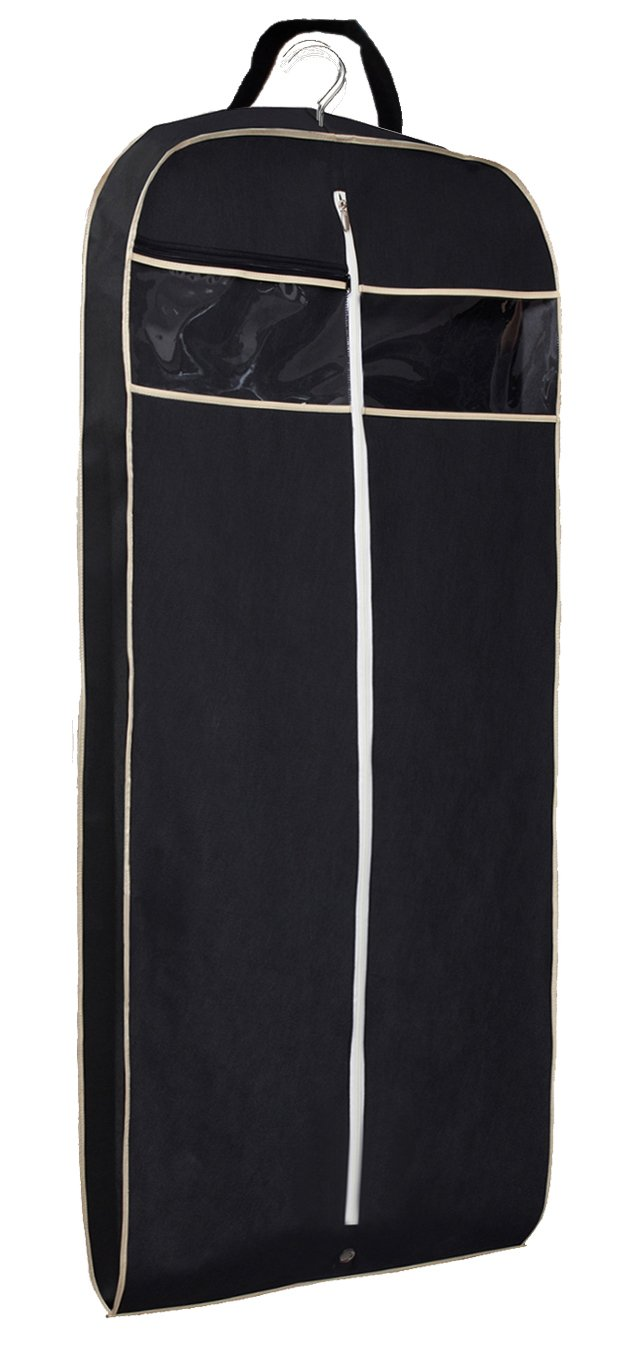 MISSLO 43'' Gusseted Travel Garment Bag with Accessories Zipper Pocket Breathable Suit Garment Cover for Shirts Dresses Coats, Black
