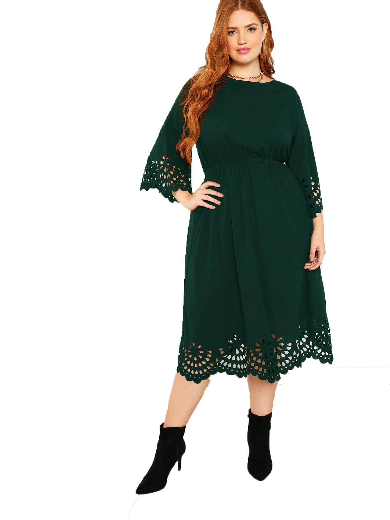 Romwe Women\'s Solid Plus Size Scallop Cut Out Dress Green 3XL