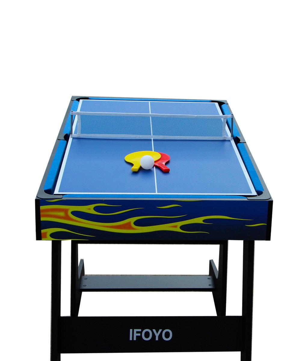 IFOYO Multi-Function 4 in 1 Steady Combo Game Table, Hockey Table, Soccer Foosball Table, Pool Table, Table Tennis Table, Yellow Flame, 48 in / 4 ft, Christams Gift by IFOYO (Image #5)