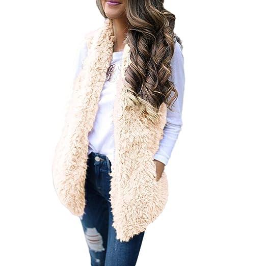 d58677f8293 Nadition Women Vest Coat Sexy Lady Winter Faux Fur Solid Casual Sleeveless  Warm Vest Waistcoat (