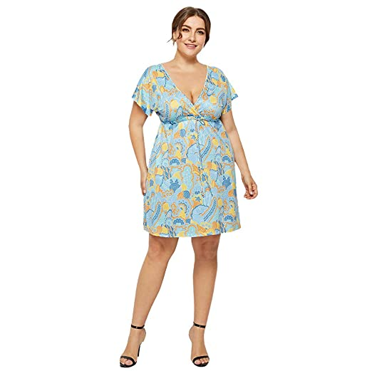 Amazon.com: Women\'s Plus Size Swing Dress Midi Floral Dress V-Neck ...