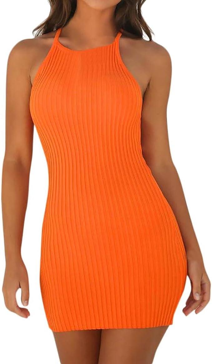 Ansenesna Kleid Sommer Damen Kurz Eng Party Mini Sommerkleider Retro  Ärmellos Neckholder Clubwear Schwarz Orange