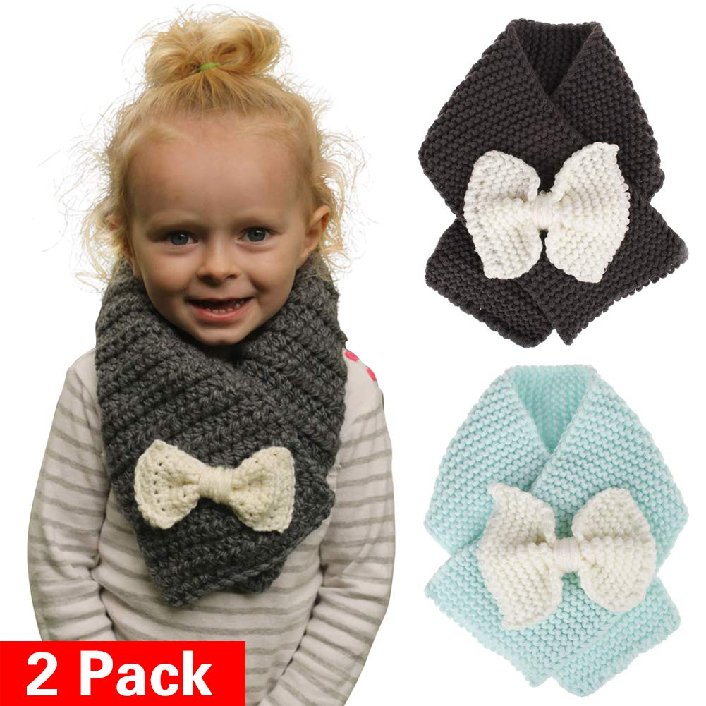 Baby Girls Knit Scarf Winter Soft Thick Loop Scarves for Infants Toddlers Kids 1-5T (2 Pack)