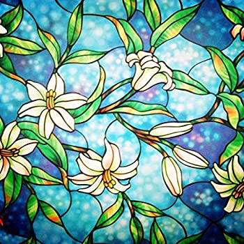 Coavas Window Privacy Film Decorative Non-Adhesive Stained Glass Window Covering Clings Privacy for Home Bathroom Kitchen Office 17.7 by 78.7 Inches