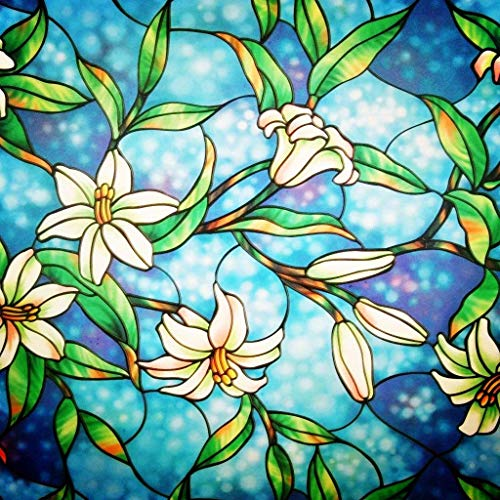 Coavas Decorative Privacy Window Film Frosted Window Film Stained Glass Window Film Window Clings No-Glue Self Static Cling for Home Bedroom Bathroom Kitchen Office 17.7 by 78.7 Inches (Window Stained Glass Decals)