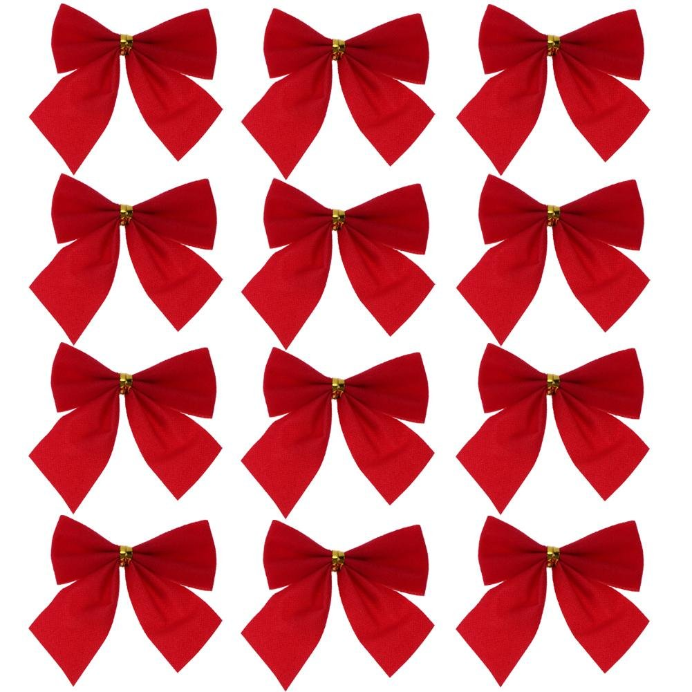 Demiawaking 12Pcs Christmas Tree Bow Toppers Hanging Ornaments Pendant Decorations Bows for Presents Crafts Tree Card Making Xmas Decor (Red)