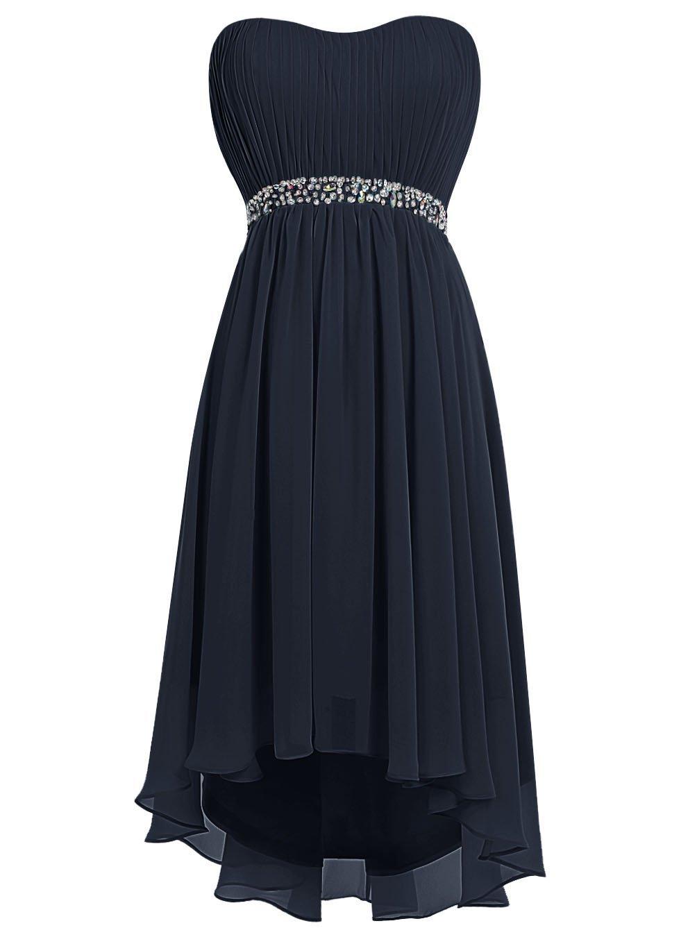 Anna's Bridal Women's High Low Beaded Chiffon Navy Blue Bridesmaid Dresses Short US12