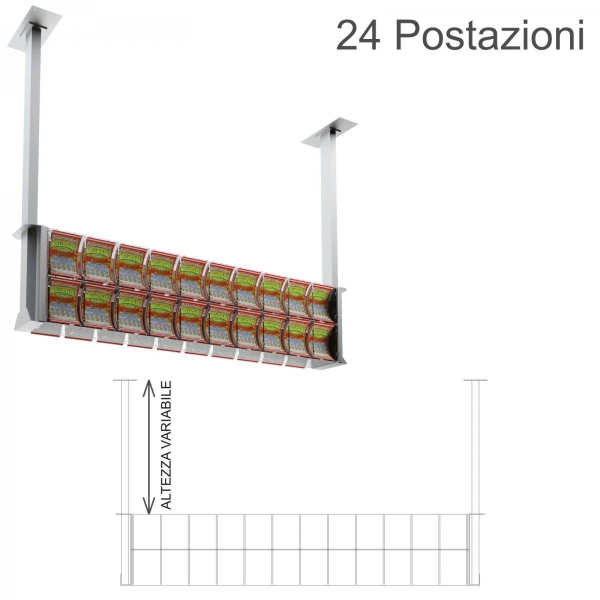 Espositore gratta e vinci da soffitto in plexiglass trasparente a 24 contenitori munito di sportellino frontale lato rivenditore