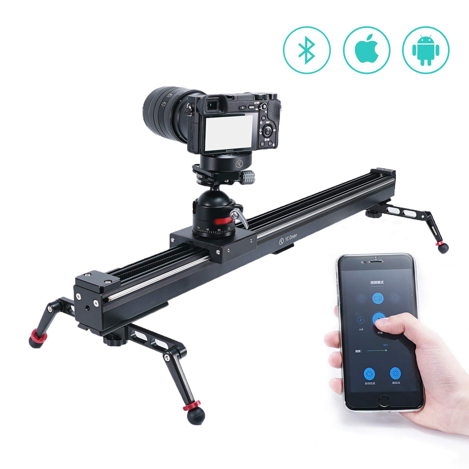 Camera Slider Motorized Set Aluminum Alloy Dolly Rail for Camera DSLR MILC Time Lapse and Video Shot 39.4in/100cm - by YC Onion by YC Onion