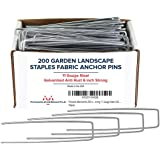 Pinnacle Mercantile USA Made 200 Pack Garden Stakes Landscape Staples Weed Barrier Fabric Galvanized 6 inch Pins Anti Rust Sod Staple 11 Gauge Steel