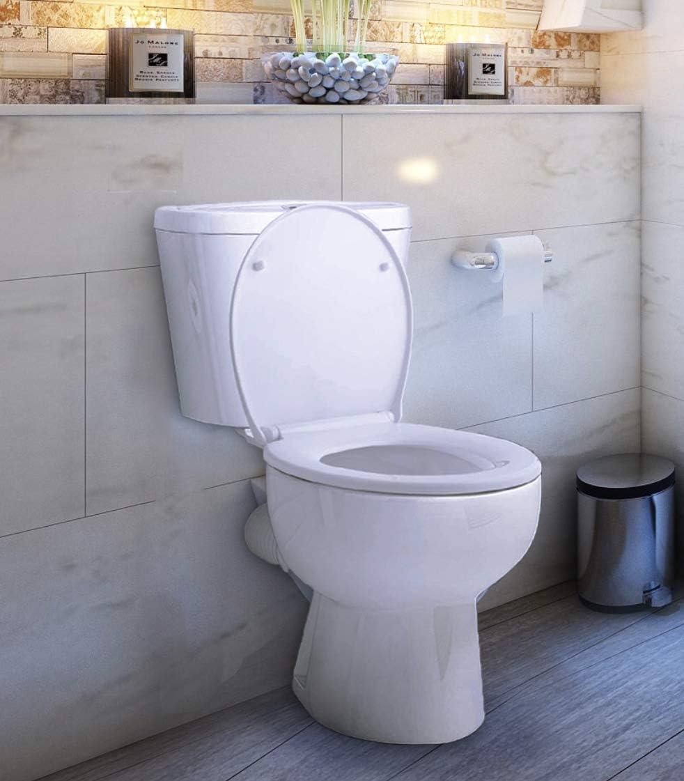 Cuvette Toilette Blanche Clipsable Declipsable pour un Nettoyage Facile Lunette de Toilette Forme O en Duroplast Fixation en Acier Inoxydable. Abattant WC Avec Frein de Chute