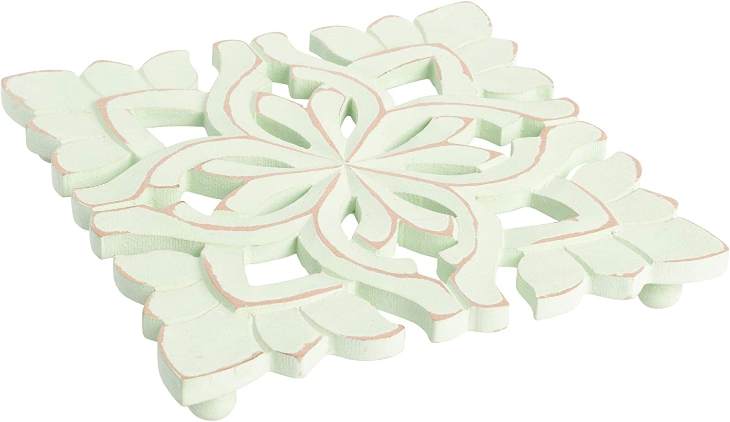 "Farmhouse Decor Natural Wood Trivet for Heavy Cast Iron, Dutch Ovens and Teapots - 7"" Square (Carved Blossom Sage Green)"