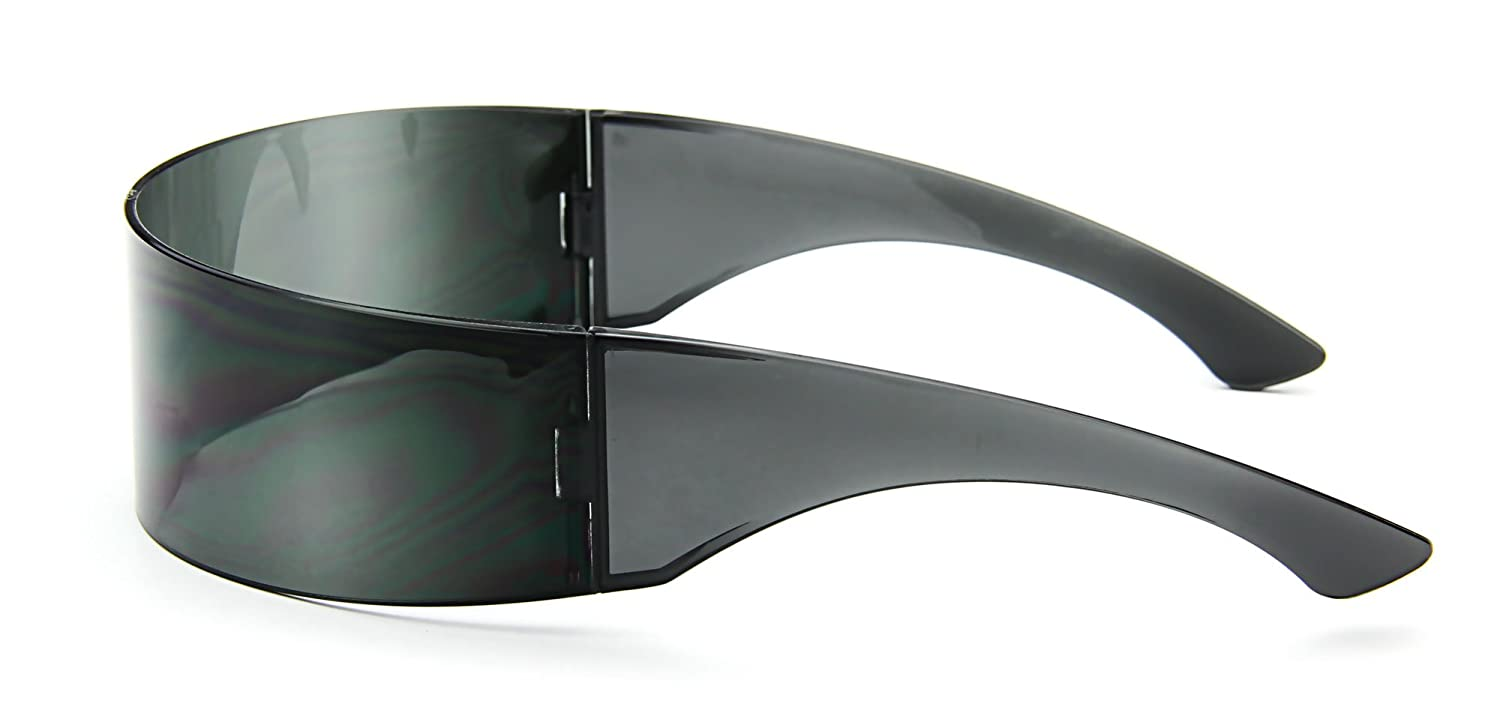 f631d494aed Amazon.com  Futuristic Cyclops Sunglasses Wrap Around Shield Monoblock 100%  UV400