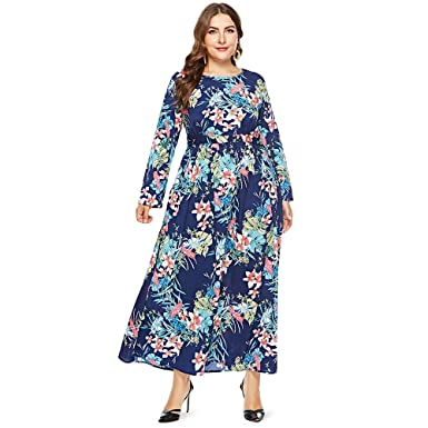 c4bb35ca07f67 Image Unavailable. Image not available for. Color  EbuyChX Round Collar  Long Sleeve Leaf Floral Print Plus ...