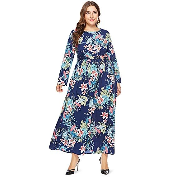 78823e6617e PALAY Round Collar Long Sleeve Leaf Floral Print Plus Size Women Maxi Dress  (Royal Blue, 2XL): Amazon.in: Clothing & Accessories