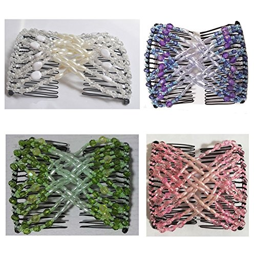 Casualfashion Ez Stretchable Combs, Lady Women Girls Hair Combs, Double Clips Comb, 4-count Easy Stretchable Hair Combs
