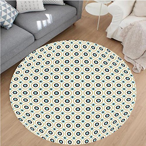 Nalahome Modern Flannel Microfiber Non-Slip Machine Washable Round Area Rug-rcles and Dots Spots in Different Sizes Symmetrical Pop Art Inspired Sky Blue Black Amber area rugs Home Decor-Round - Black Amber Wrestling