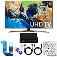 Samsung UN49MU7000 48.5 4K Ultra HD Smart LED TV (2017 Model) Plus Terk Cut-the-Cord HD Digital TV Tuner and Recorder 16GB Hook-Up Bundle
