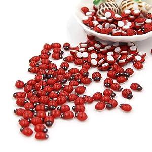 Mini Ladybugs, Self-Adhesive Ladybugs Wooden Ladybug Shaped Stickers Miniature for Fairy Garden Dollhouse Home Decor, 100 PCS