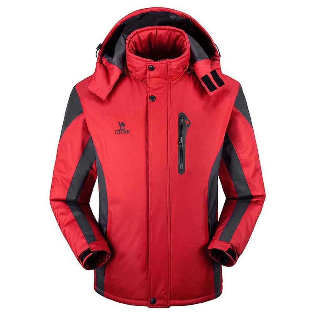 Hoshell Men's Hooded Softshell Outdoor Windbreaker for Camping Hiking Ski Jacket (2XL, Red)