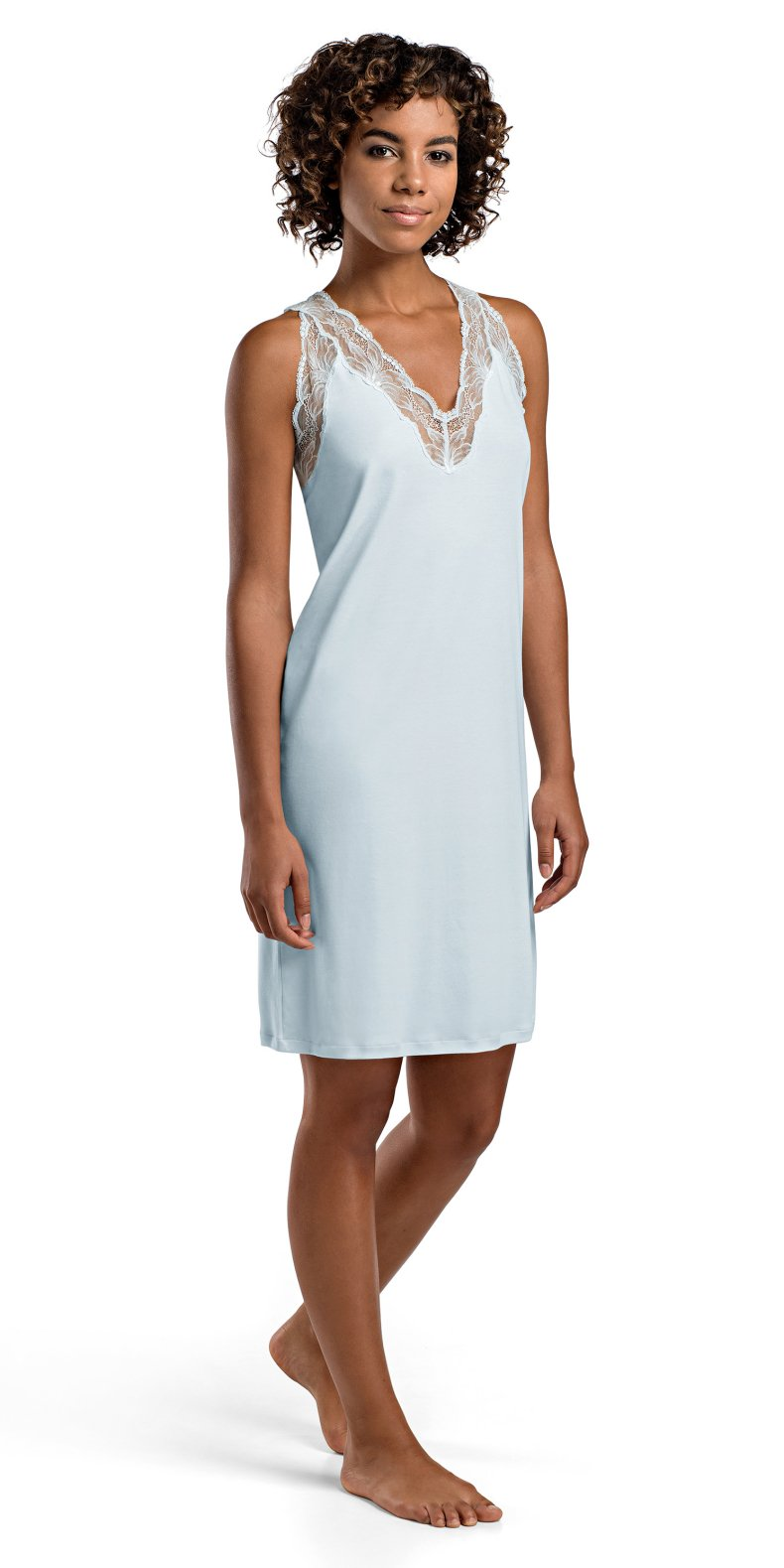 Hanro Women's Valencia Tank Gown, Bel Air Blue, Large