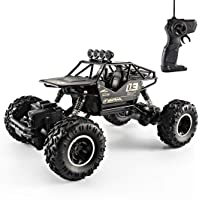 Superior performance Four-wheel drive alloy off-road racing barrier-free climbing lasting power remote control car black