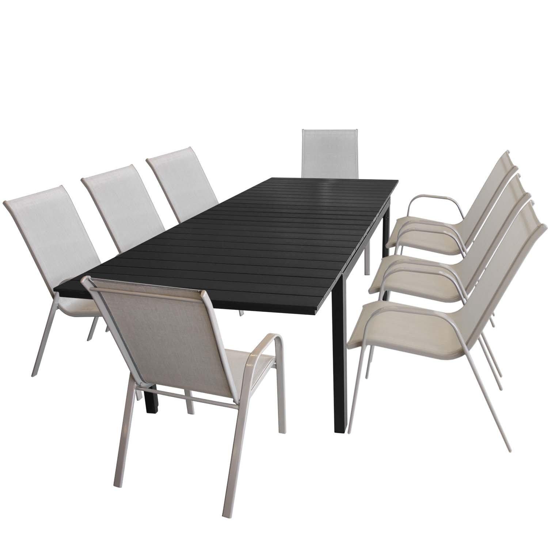 Multistore 2002 9tlg. Gartengarnitur Ausziehtisch, Aluminiumrahmen, Polywood-Tischplatte schwarz, 200/250/300x95cm + 8X stapelbarer Gartenstuhl Champagner, Stahl, Textilenbespannung