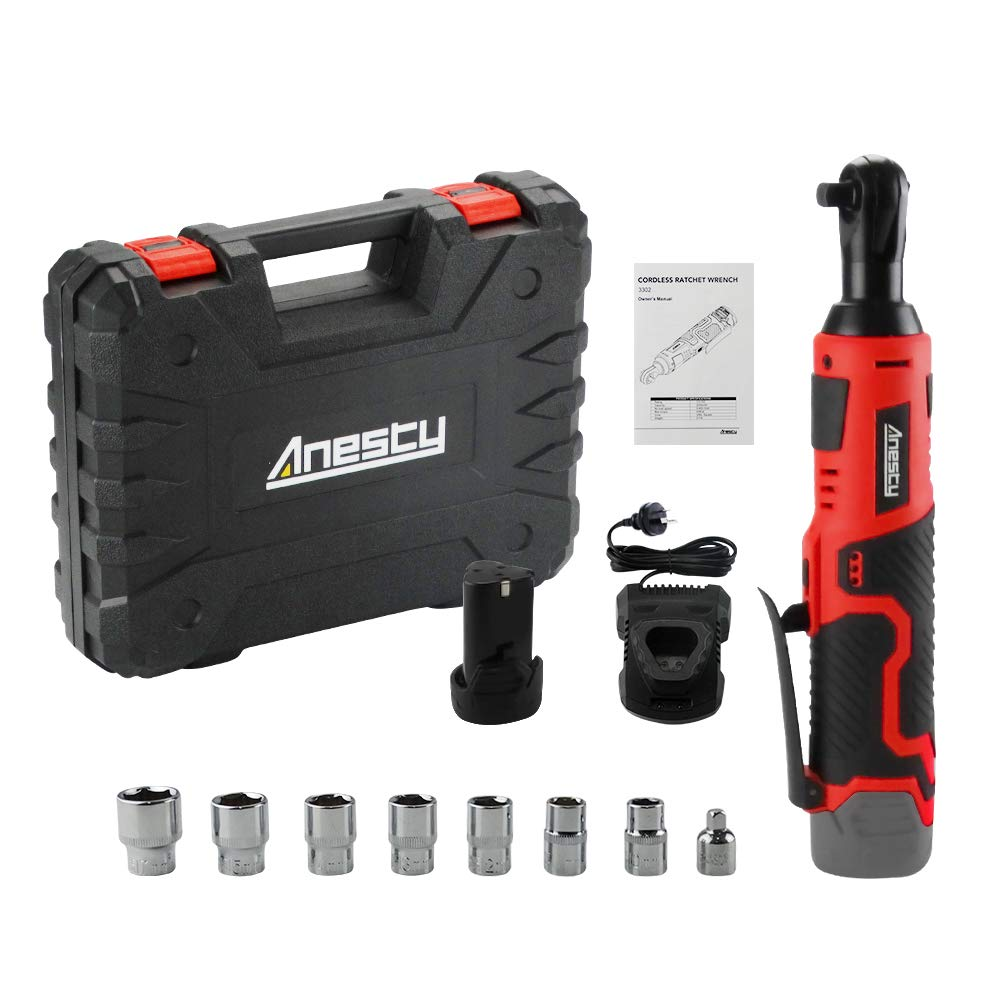 Anesty 3/8'' Cordless Electric Ratchet Wrench Set with 7 Sockets 1/4'' Adapter, 2000 mAh Lithium-Ion Battery, Fast Charger