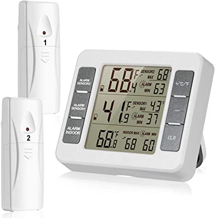 Refrigerator Wireless Digital Alarm Thermometer Freezer Temperature Sensor Meter