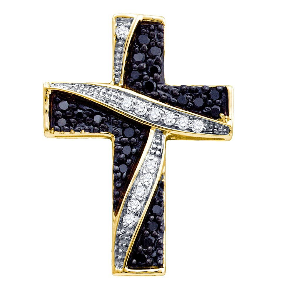 0.24CTW BLACK DIAMOND CROSS PENDANT