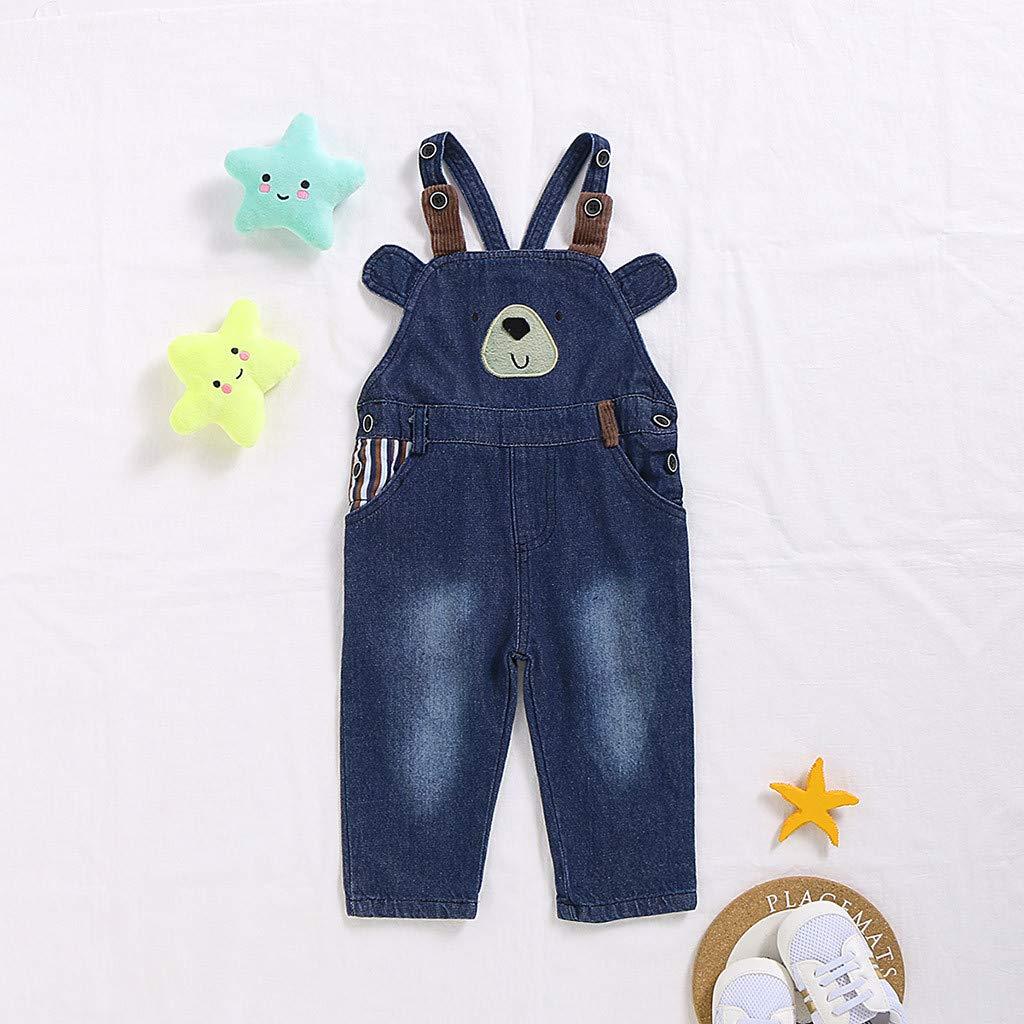 Kinder Baby-Unisex Jungen M/ädchen Pants Hose Latzhose Jeans Overall Warm Cartoon-B/är S/ü/ß Freizeit Hosen Sporthose Kleidung f/ür 6M-4Y WEXCV Baby Hosen