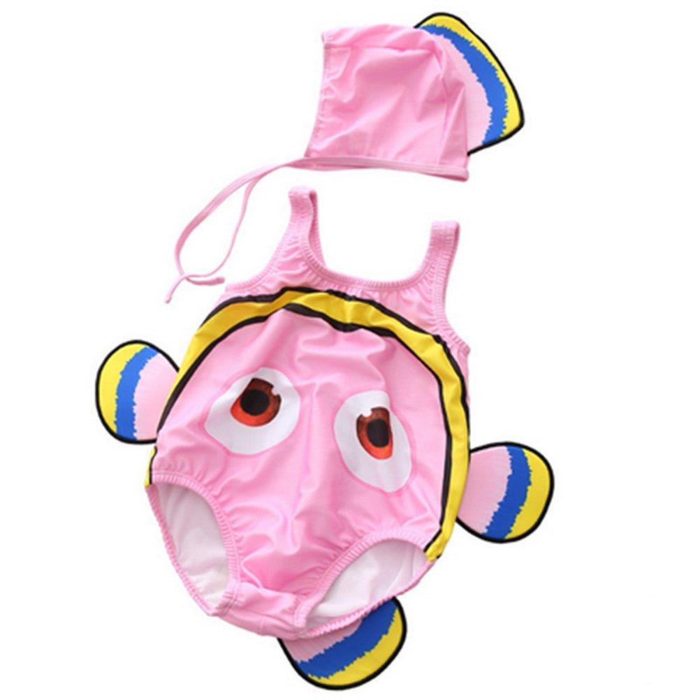 ARAUS Costume Da Bagno Da Bimbo Infantile Stile Pesce Pagliaccio Per Nuotare Con Cappuccio 2 Pezzi 2440P10