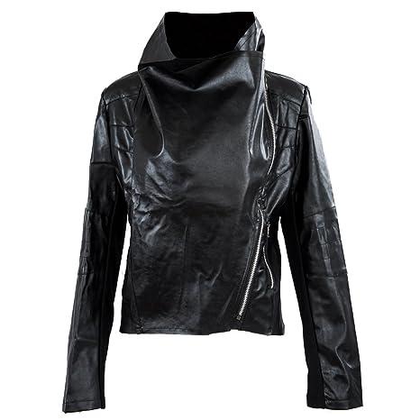 SODIAL (R) Moda Vintage Donna Cappotto Giacca Moto Snello In Pelle PU  morbido Con fa430346c65