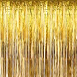 Sumind 10 Packs Foil Curtains Tinsel Curtains Photo Booth Backdrops for New Year's Christmas Party Decorations Disco Decor Wedding Birthday Party Curtains (Gold)