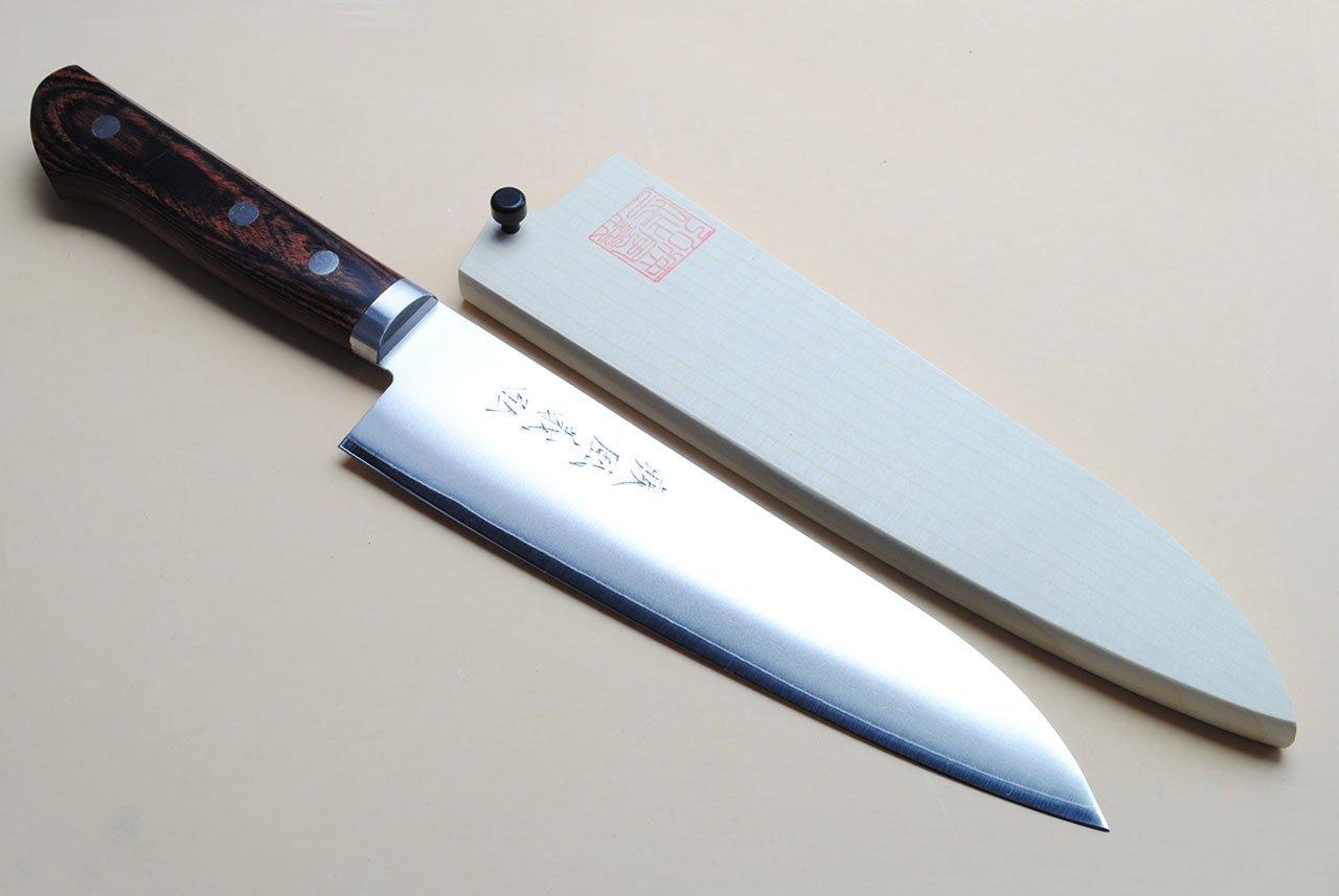 Yoshihiro VG-1 Gold Stainless Steel Gyuto Japanese Chef Knife 7'' (180mm) Magnolia Wood Saya Cover by Yoshihiro (Image #1)